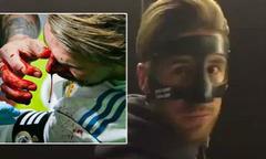 Sergio Ramos khoe mặt nạ như hiệp sĩ