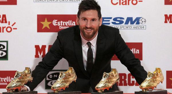 Đây là lần thứ 4 Messi được trao Chiếc giày vàng, cân bằng với C. Ronaldo.