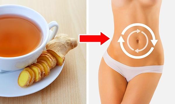 Nhai gừng tươi hoặc thêm gừng vào trà sẽ giúp cải thiện tiêu hóa, giảm các triệu chứng đầy bụng, cho vòng eo phẳng.