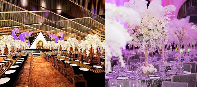 Giữa không gian mang màu sắc huyền bí, khách mời được tận hưởng dạ tiệc ẩm thực cao cấp theo phong cách cổ điển của hoàng gia.