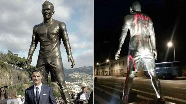 Tượng C. Ronaldo ở quê nhà Funchal bị các anti fan chơi khăm