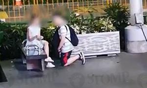 Chàng trai quỳ gối xin lỗi bạn gái giữa phố đi bộ đông đúc
