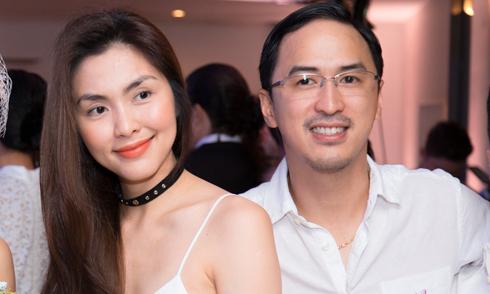 Hà Tăng mặc váy dây sánh đôi ông xã dự tiệc cưới ở TP HCM