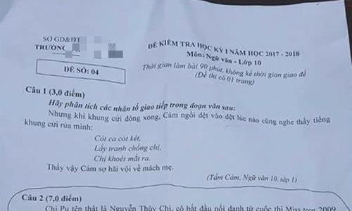 MV của Chi Pu xuất hiện trong đề thi văn ở Phú Thọ