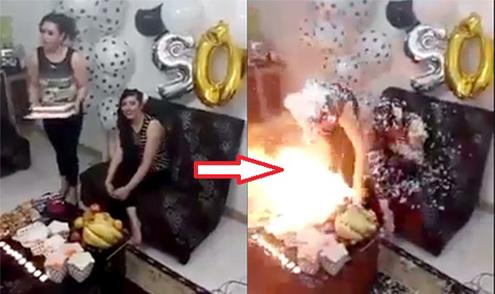 Bạn bè xịt tuyết mừng sinh nhật, hai cô gái cháy rực như đuốc