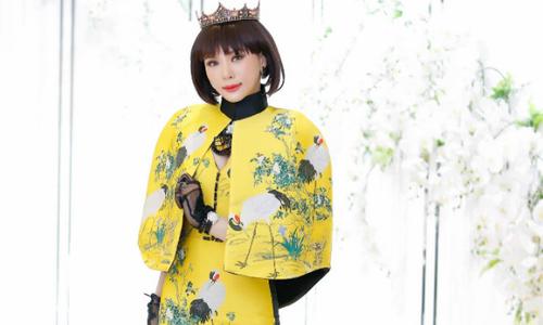 Á hậu Ngọc Quỳnh diện váy dạ hội họa tiết chim hạc đi sự kiện