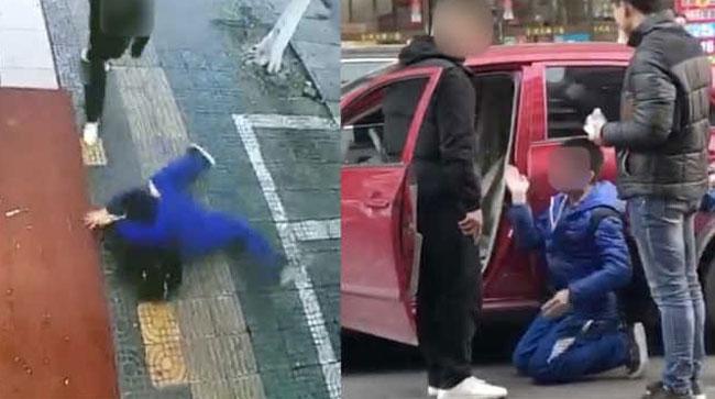 Ném đá vào ôtô, cậu bé bị bắt tự tát vào mặt mình