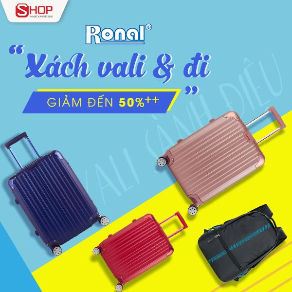 Từ 20/12 đến 31/1 năm 2018, Ronal phối hợp với sàn Thương mại điện từ Shop VnExpress triển khai chương trình giảm giá nhiều mẫu balo, vali giá từ 179.000 đồng kèm ưu đãi mua 1 tặng 1.