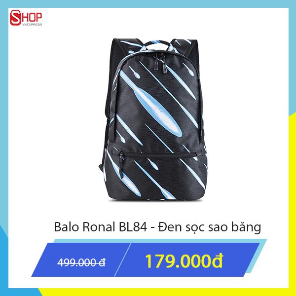 Ba lô Ronal đen sọc sao băng có thiết kế đơn giản nhưng sang trọng, làm hài lòng các khách hàng khó tính. Sản phẩm giảm giá độc quyền còn 179.000 đồng.