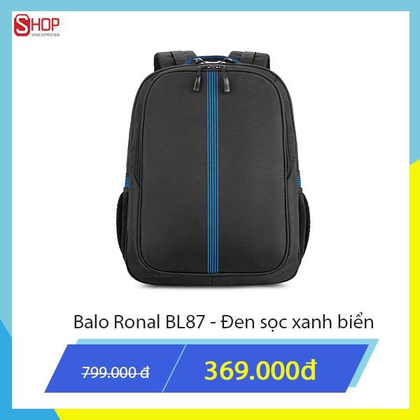 Balo Ronal màu đen phối xanh hay màu đen phối đỏ giảm 46%, còn 499.000 đồng. Sản phẩm được tặng kèm túi phụ kiện mang đến phong cách thanh lịch, thích hợp đi làm hay du lịch, dã ngoại.