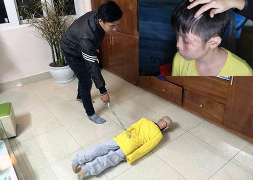 Trần Hoài Nam thực nghiệm lại cảnh bạo hành con ruột. Ảnh: CTV.