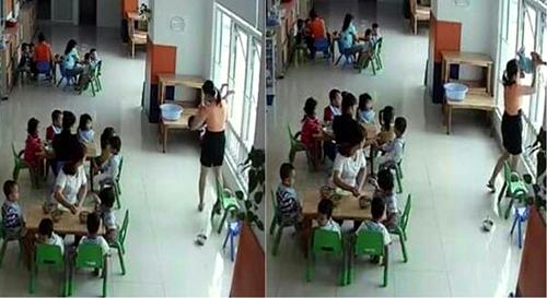 Ảnh được phụ huynh chụp từ camera giám sát của trường. Ảnh: Facebook.