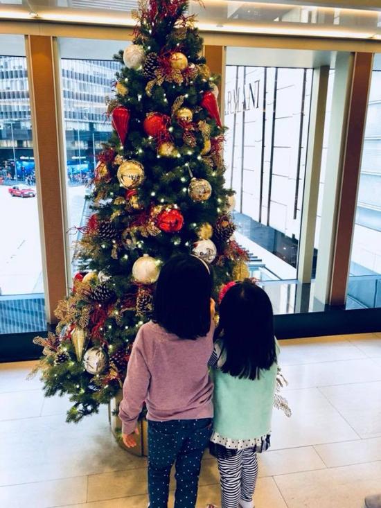 Hai con gái nhỏ của cô háo hức ngắm nghía cây thông.