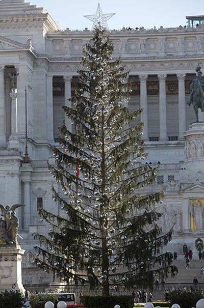 Cây thông Giáng sinh gây tranh cãi ở quảng trường Piazza Venezia, Rome, Italy. Ảnh: AP.