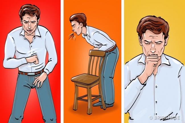 Hóc, nghẹn. Trong trường hợpbị hócdị vật, trước tiên, bạn cần bình tĩnh rồi cố gắng ho thật mạnh. Nếu không có tác dụng, hãy tự đấm vào khu vực giữa rốn và xương sườn theo hình chữ J, chiều từ trên xuống. Nếu cách này cũng không hiệu quả, bạn hãy thử dựa người vào ghế (hay bất cứ vật nào vừa tầm thắt lưng bạn) rồi vòng tay trước người và ấnmạnh. Lặp lại hành động đócho tới khi dị vật văng ra.