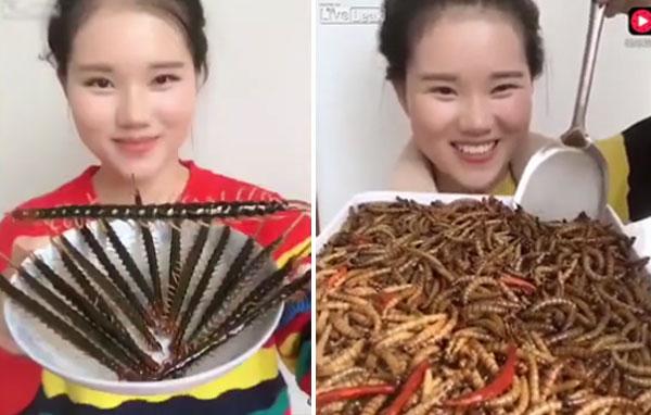 Cô gái xinh đẹp ăn côn trùng để khỏe mạnh