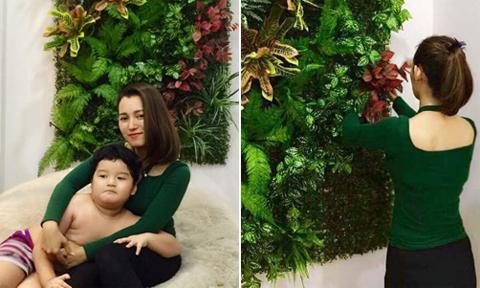 Bà mẹ trẻ biến góc tường căn hộ thành thảm cỏ sinh động