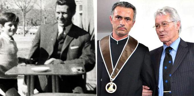 HLV Mourinho và người bố quá cố. Ảnh: NS.