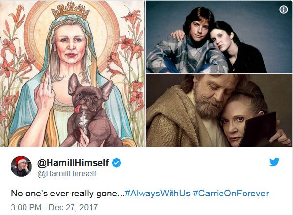 Đồng nghiệp Mark Hamill tưởng nhớ Carrie Fisher.