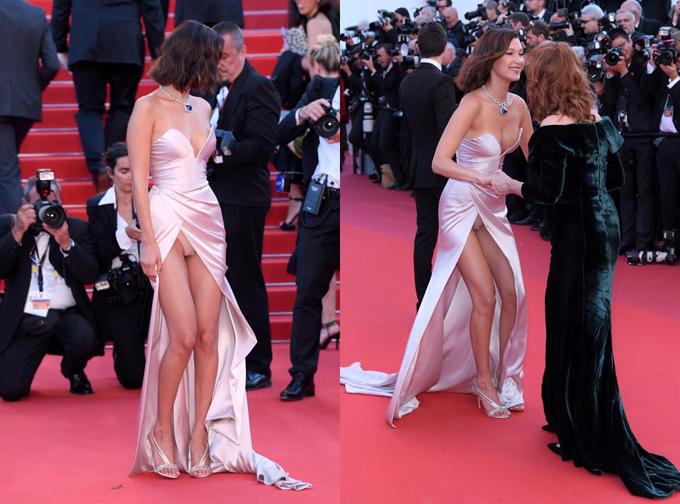 Khoảnh khắc hớ hênh phản cảm của người mẫu Bella Hadid trên thảm đỏ Cannes 2017.