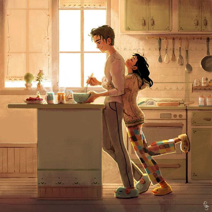 Thức dậy vào một buổi sáng và nhìn thấy người ấy đang nấu ăn cho mình.