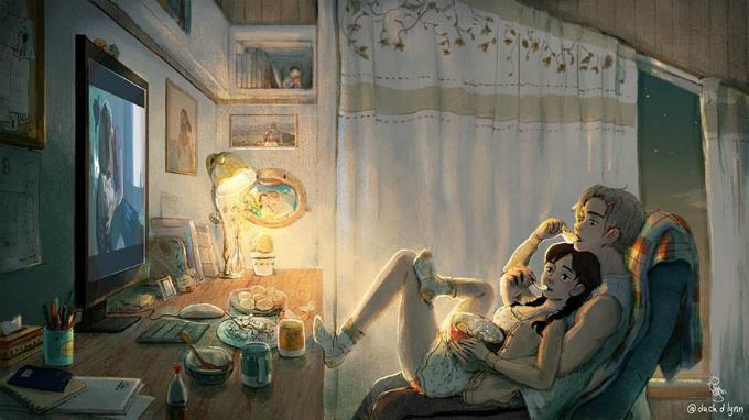 Nằm gọn trong lòng người ấy như một chú mèo con và cùng nhau thưởng thức một bộ phim cả hai yêu thích.