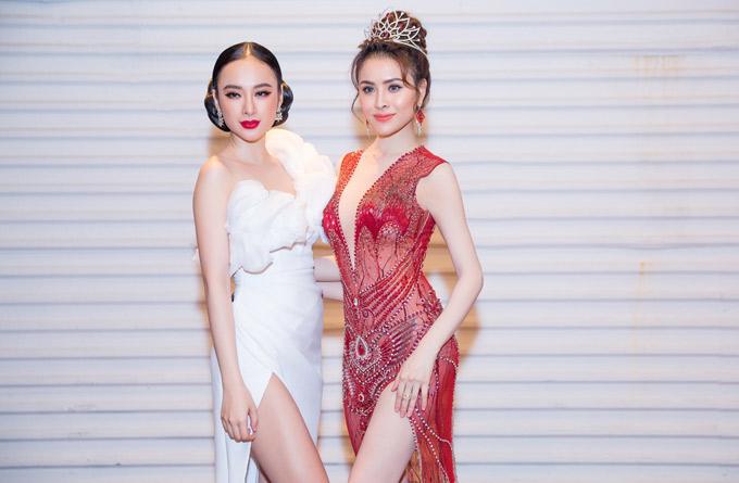 Cô đến dự tiệc cảm ơn sau đăng quang của Hoa hậu sắc đẹp hoàn mỹ toàn cầu 2017 Thư Dung.