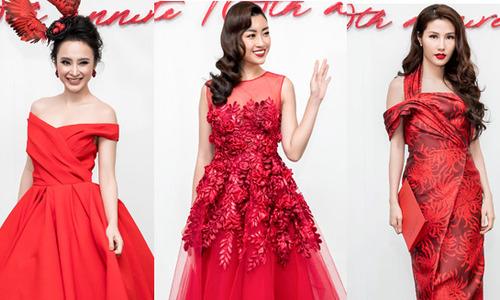 'Rừng sao' diện váy áo đỏ rực đi xem show Đỗ Mạnh Cường