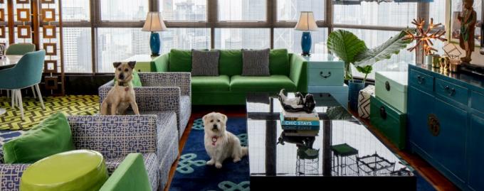 Triết lý thiết kế ít tức là nhiều (Less is more) không dành cho Brook Babington, chủ nhân của một ngôi nhà tại Hong Kong. Thay vì loại sạch các đường nét, bề mặt hoa văn và bảng màu trung tính, không gian sống của người phụ nữ này rực rỡ, tràn ngập sự vui nhộn.