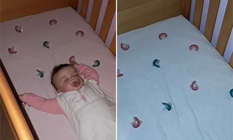 Mẹ dỗ con ngủ bằng 10 chiếc ti giả rải trong cũi