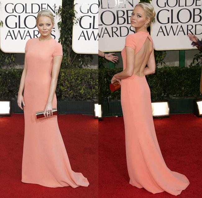 Thiết kế màu nude của nhà mốtCalvin Klein giúp Emma Stone khoe lưng trần gợi cảmtại thảm đỏ năm 2011.