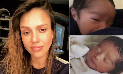 Jessica Alba phờ phạc khi chăm con trai mới sinh