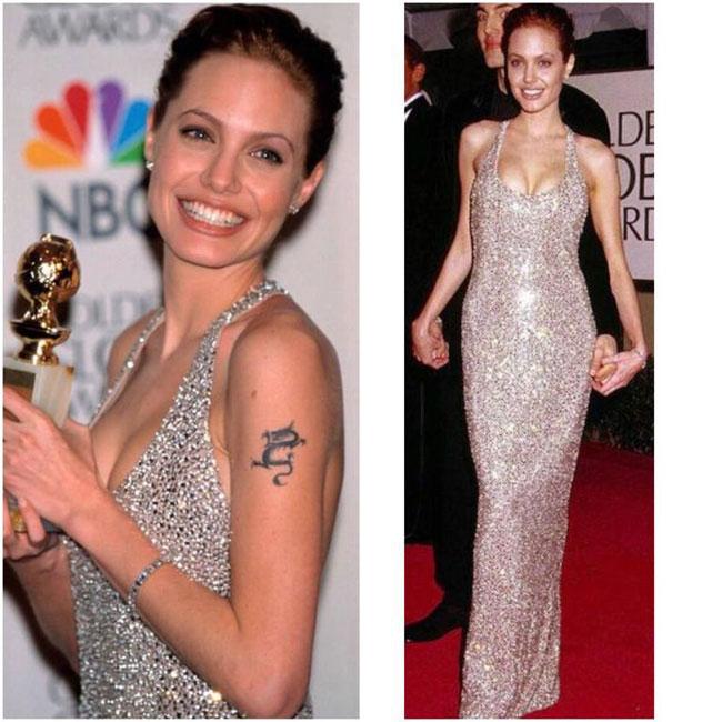Năm 1999, nữ minh tinh Angelina Jolie khoe hình thểhoàn hảo với thiết kế đính sequin từ nhà mốtRandolph Duke.