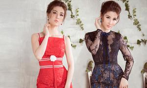 Diễm My 9x tự trình diễn những mẫu váy cùng Đỗ Long thiết kế