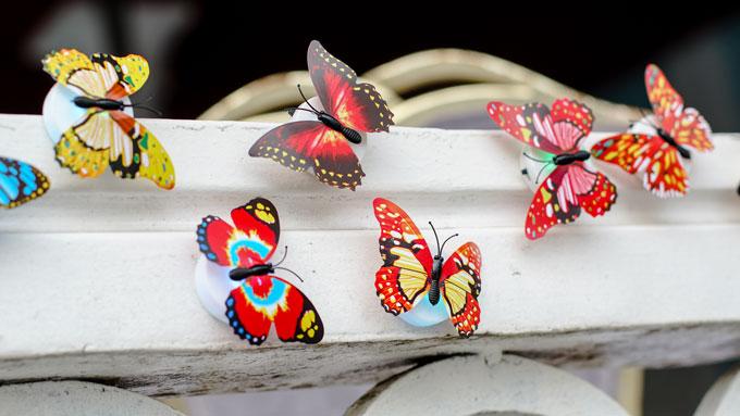 Những cánh bướm đủ màu sắc trên đường dẫn vào nơi tổ chức tiệc cưới.