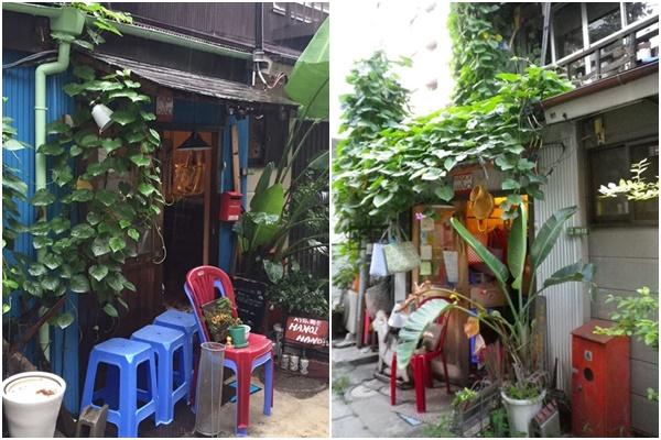 Giống như nhiều ngôi nhà ở Việt Nam, quán ăn chọn các loại cây leo giàn để lấy bóng mát, thêm chậu chuối khiến nơi đây không khác gì cảnh ở Việt Nam - Ảnh:4travel.jp