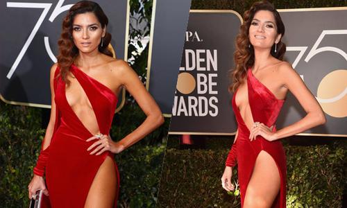 Nữ diễn viên Mỹ chơi trội với váy đỏ hở hang ở Quả cầu vàng