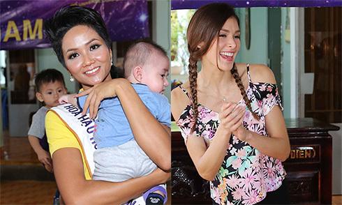 Hoa hậu H'Hen Niê đi từ thiện cùng Miss Universe 2008 Dayana Mendoza