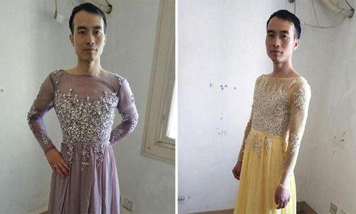 Ông chủ tự làm mẫu thử váy cho khách xem