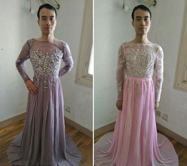 Ông chủ tự làm mẫu thử váy cho khách xem - 1