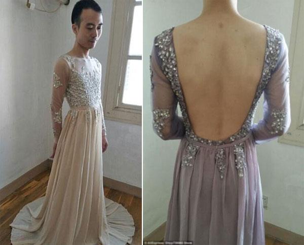 Anh này không ngại xoay người, tạo dáng để làm cho chiếc váy sinh động hơn.