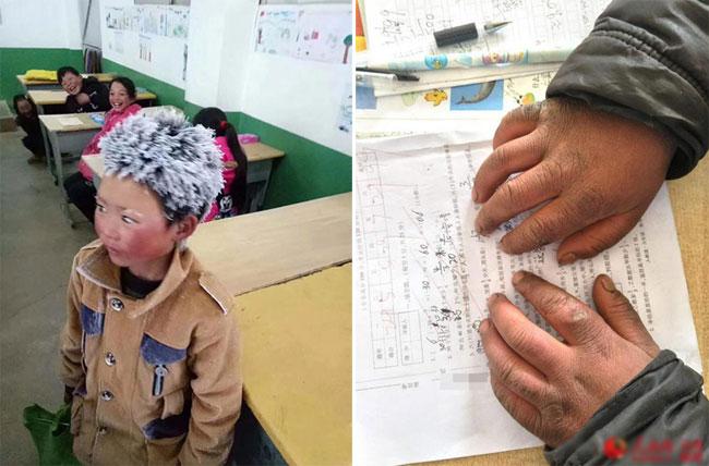 Cậu bé mỗi ngày đều đi bộ 5 km dưới cái lạnh âm 9 độ C để đến trường