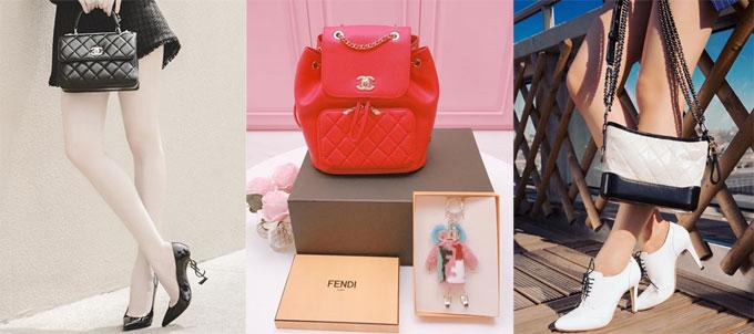 Từ trái qua phải, chiếc Top Handle Flap Bag màu đen có giá khoảng 6.000 USD (khoảng 130 triệu đồng), Balo Business Affinity trị giá gần 100 triệu đồng và túi xách Chanel Gabrielle cỡ mini có giá bán hơn 90 triệu đồng.