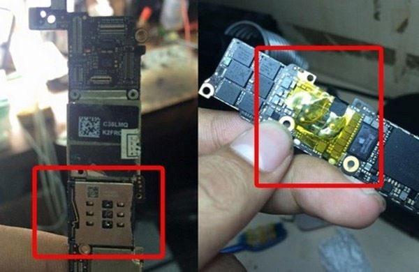 Dây nối với SIM ghép được giấu dưới bo mạch một cách vô cùng tinh vi. Nguồn ảnh: viettelstore.vn.