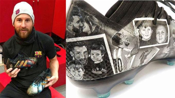 Messi và món quà tặng từ fan. Ảnh: NS.