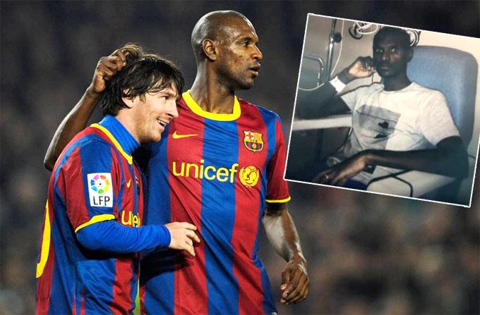 Abidal và Messi khi còn là đồng đội ở Barca. Ảnh: NS.