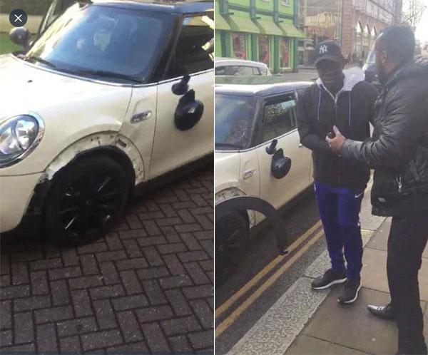 Kante selfie với fan sau khi gặp tai nạn với chiếc Mini Cooper trắng. Ảnh: The Blues.