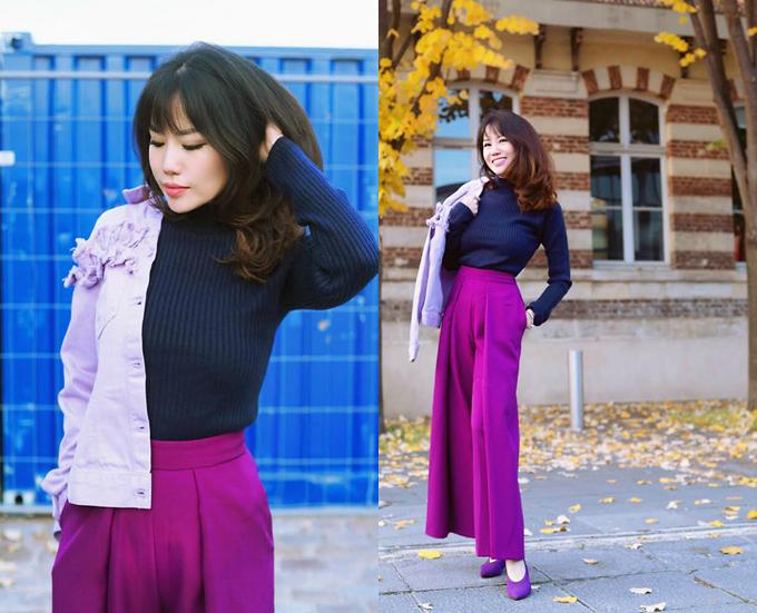 Bên cạnh các kiểu áo ấm thiết kế trên chất liệu len sợi hợp mốt mùa đông, tông tím còn được thể hiện trên các kiểu quần suông thanh lịch, giúp phái đẹp đổi mới phong cách thời trang từng ngày nhưng vẫn theo đúng khuynh hướng mới.