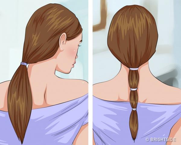 Buộc tóc gọn trước khi đi ngủBuộc tóc gọn gàng trước khi đi ngủ giúp hạn chế ma sát tóc với gối, chăn, gây ra tích điện, khiến tóc yếu đi, dễ gãy rụng.