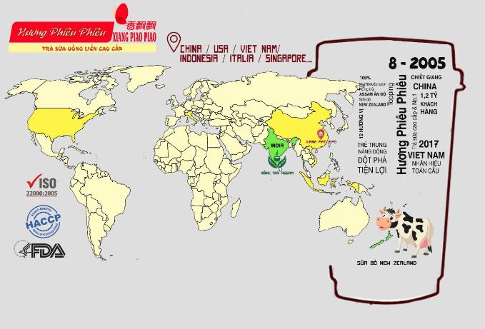 Trà sữa Xiang Piao Piao đã được thẩm định về chất lượng và được tin dùng tại nhiều quốc gia.